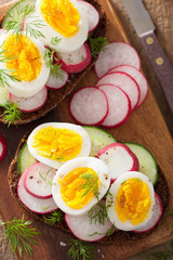 healthy sandwich with egg radish cucumber