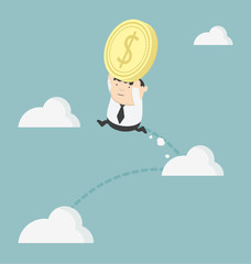 Obese businessman holding money jump up cloud