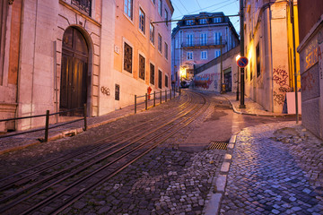 Calcada da Gloria Street at Dusk in Lisbon
