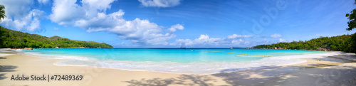 Fotobehang Eiland Anse Lazio beach panorama, Praslin Island, Seyshelles