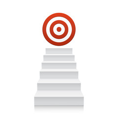 Stairs with red target icon isolated on white background