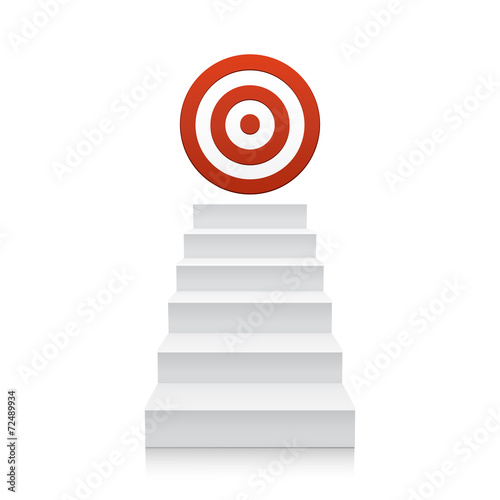 Stairs with red target icon isolated on white background - 72489934