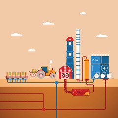 Vector concept of biofuels refinery plant