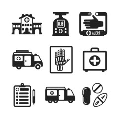 Set of vector monochrome medical icons in flat style
