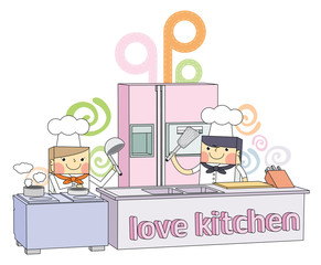 Restaurant  kitchen chef line character illustration