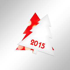 2015, paper christmas tree square greeting card