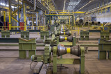 Pipes rolling line at pipeline manufacture, metallurgy industry poster