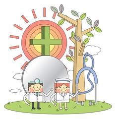 Doctors & nurses & hospital concept line illustrations