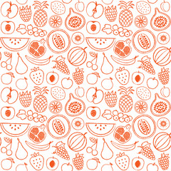 Hand drawn fruit seamless pattern background 1