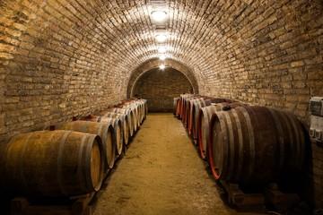 Barrels in a hungarian wine cellar