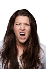 woman faces bright - rage