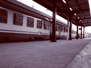 Retro look Train at station