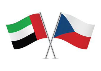 Czech and United Arab Emirates flags. Vector illustration.