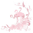 pink flamingo and roses