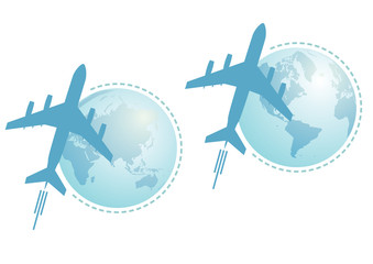 airplane and globe, set