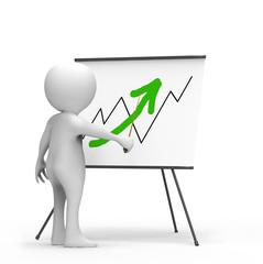 3d businessman shows economic growth