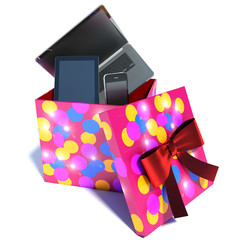 gift box with a laptop, phone and tablet. 3d illustration