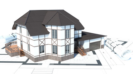 construction of houses. drawings. 3d illustration