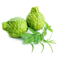 kaffir Lime or Bergamot fruit and green grasses is isolated on w
