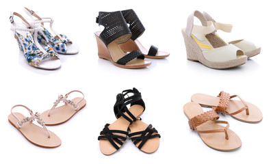 Summer shoes for women on a white background