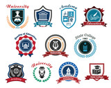 University, academy and college emblems or logos set poster