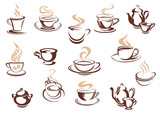 Fototapety Set of doodle sketch coffee icons