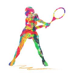 silhouette di tennista composta da colori