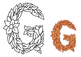 Floral alphabet letter G with leaves