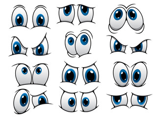 Funny cartoon eyes set