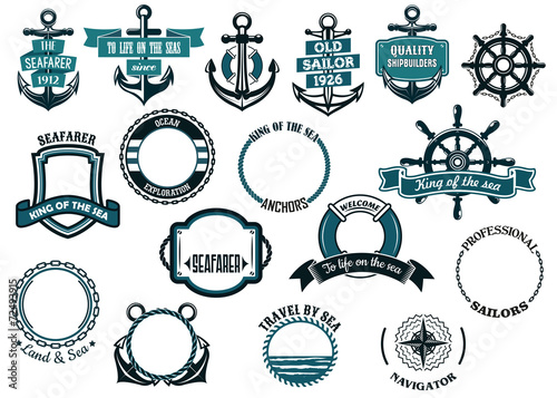 Set of nautical or marine themed icons and frames - 72493915