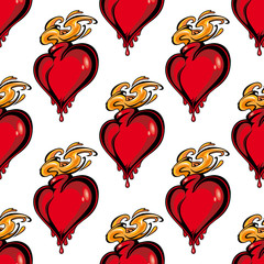Seamless pattern of a flaming melting heart
