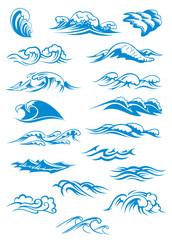 Blue breaking ocean waves