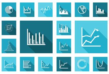 Flat charts and graphs set