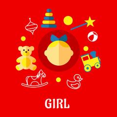 Girl flat concept