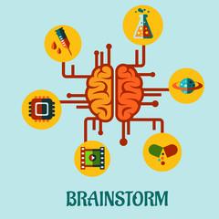 Creative brainstorming flat concept design