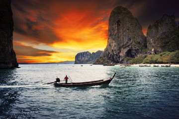 beautiful sea scape wood boat of Railay bay krabi southern of th