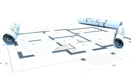 drawings on white background. 3d illustration