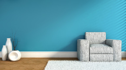 empty blue interior with chair and vase. 3D Illustration