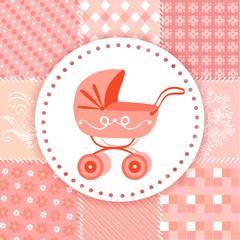 baby pram on a patchwork background