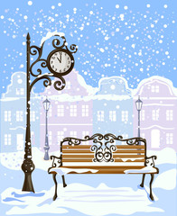 winter city view with street clock and bench