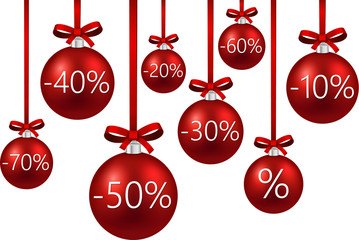 Sale background with christmas balls.