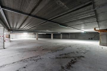 Inside of empty underground parking