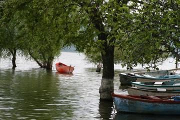 red boat at lake