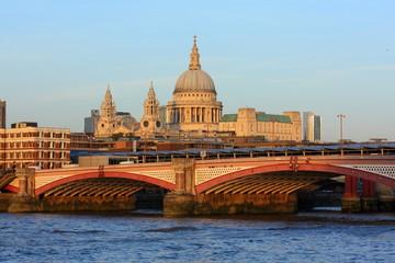 London skyline with Blackfriars Bridge and St. Paul