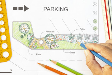 Garden design for parking lot