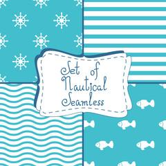 Set of four seamless patterns on the nautical theme