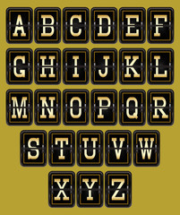 alphabet in retro style on background
