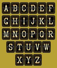 alphabet in retro style on background