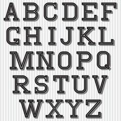 set of stylized retro font on background