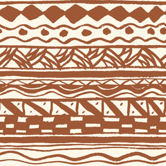 Abstract seamless ethnic pattern, hand-painted.